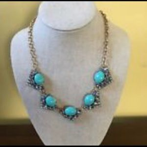 Stella & Dot turquoise & Rhinestone necklace